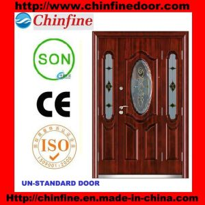 Steel Security Door with Glass (CF-U023) pictures & photos
