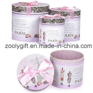 Cardboard Round Gift Box Set with Butterfly Bow pictures & photos