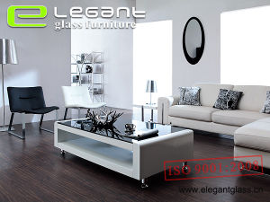 Popular White Coffee Table with Grey Glass Top pictures & photos