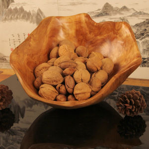 Exquisite Carved Wooden Baskets Durable Fruit Wooden Bowl