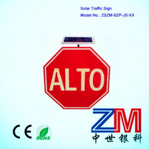 Hot Sale Octagonal Solar Powered Traffic Sign / LED Flashing Road Sign pictures & photos