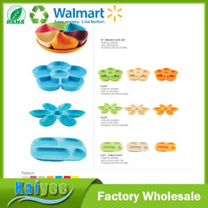 6 Compartment Colorful Bamboo Fiber Snacks Plate Set pictures & photos