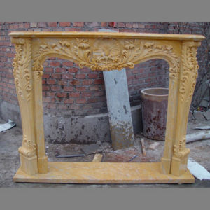 Beautiful Golden Marble Fireplaces for Luxury Home pictures & photos