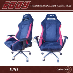 Eddy Racing Style Office Seat Reclining Office Chair in Black Fabric Chair