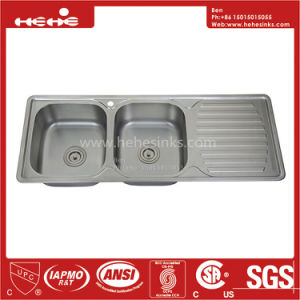 Stainless Steel Kitchen Sink, Drop in Sink, Stainless Steel Top Mount Equal Double Bowl Kitchen Sink with Drain Board pictures & photos