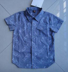 100% Cotton Stand Collar Boy′s Shirt Short Sleeve pictures & photos