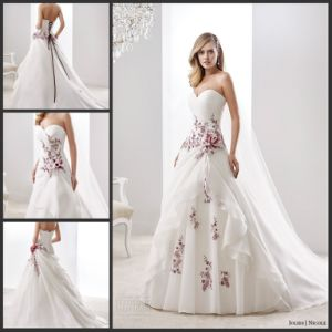 Wine Lace Bridal Gown Color Accent Nicole Wedding Dress H5216 pictures & photos