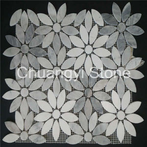 White Marble Flower Shape Mosaic Tile for Home Decoration
