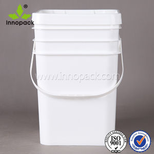 Virgin PP Rectangular Plastic Bucket with Handle and Lid for Sale 20L pictures & photos