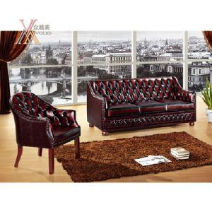 Antique Style Leather Sofa Set (NCS41) pictures & photos