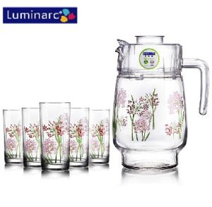 Luminarc 7PCS Printed Flower Glass Water Set with Plastic Lid (G5114) pictures & photos
