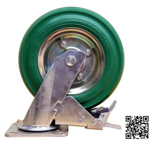 Heavy Duty Green Rubber Brake Caster pictures & photos
