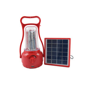 Rechargeable Battery Red Solar Camping Light with Solar Panel pictures & photos