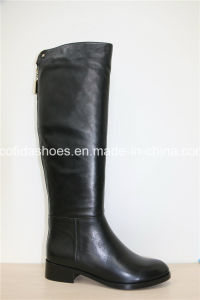 Trendy Flat Comfort Women Winter Long Leather Boots pictures & photos