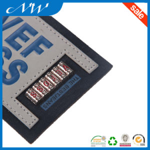 Debossed Text Two Pieces Sewing Leather Patch for Denim pictures & photos