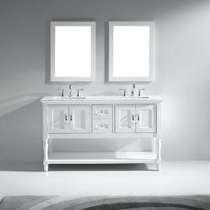 North America Popular Double Sink Solid Wood Bathroom Vanity