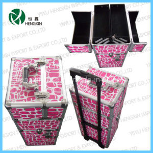 New Double Open Trolley Cosmetic Case with Trays pictures & photos