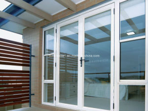 Light Blue Tinted Tempered Glass French Style Aluminium Doors pictures & photos