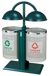 Double Round Tank Metal Outdoor Rubbish Barrel (GPX-152) pictures & photos