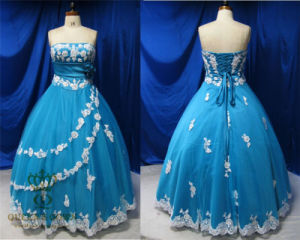 Blue Evening Dresses with Delicate White Lace Patched Prom Dress pictures & photos