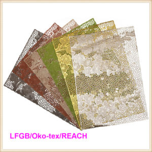 PVC Lace Placemat Coated Gold & Silver Doily (JFCD-058) pictures & photos