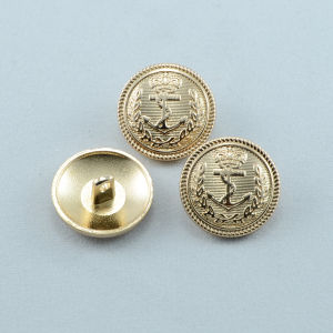Custom Anchor Logo Light Gold Zinc Alloy Shank Button pictures & photos
