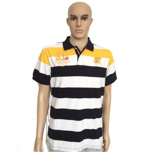 Custom Yarn Dyed Men′s Striped Polo Shirt pictures & photos