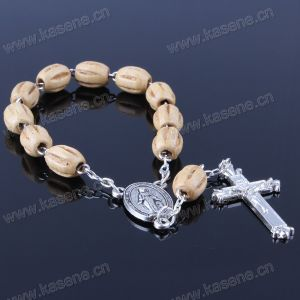 Italy Religious Wooden Beads Bracelet with Cross