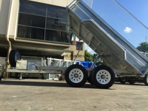 10X5 Hot Dipped Galvanized Hydraulic Tipping Trailer with 600mm Height Cage pictures & photos