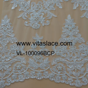 Ivory Rayon Lace Fabric for Home Textile in Factory Vl-100096bcp