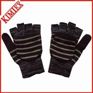 Fashion Acrylic Knitted Magic Marled Gloves with Flap pictures & photos