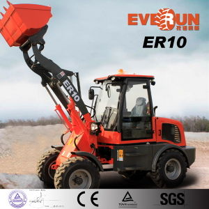 Everun New Condition Wheel Moving Type Compact Front End Loader with Grass Forks pictures & photos