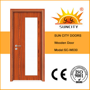 Low Price New Design Carved Glass Wooden Doors (SC-W030) pictures & photos