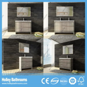Hot Selling Clean Cut Floor Mounted Solid Wood Bathroom Furniture (BV219W) pictures & photos
