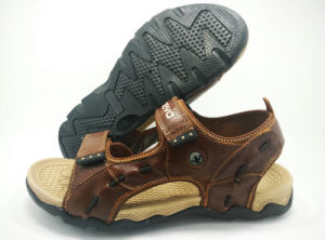 2016 New Men′s Casual Beach Leather Sandals