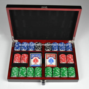 300 PCS 8-Gram Clay Composite Poker Chip Set in a Black Lacquer Box pictures & photos