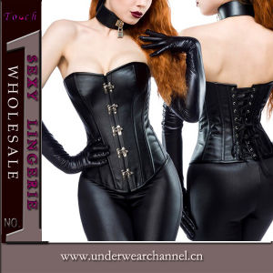 Sexy Lady Leather Black Corset Lingerie (TLQZ514) pictures & photos