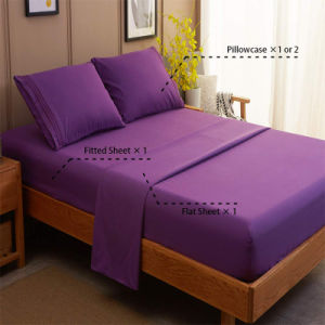 Wholesale Bed Sheet Set 100% Cotton Bedding Cover Queen Size Solid Color Bed Linen