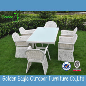 Outdoor Garden White Rattan Dining Table and Chairs