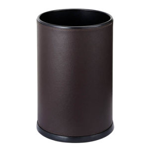 Hotel Room 9L Round Coffee Brown Leather Dustbin Waste Bin pictures & photos