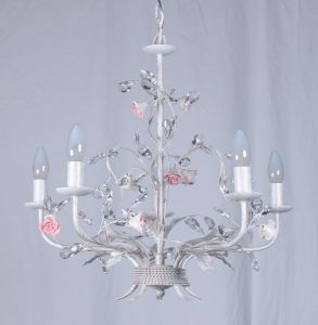 White Finishing with Pink Flower Foral Attractive Chandelier pictures & photos