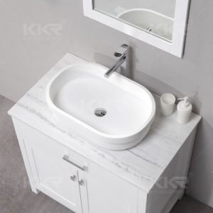Bathroom Solid Surface Table Top Wash Basin with Cabinet pictures & photos