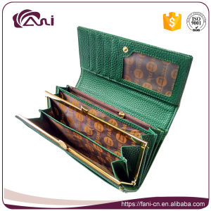 New Design Modern Wallet, Long Embossed Money Bag, Green Leather Lady Purse with High Quality pictures & photos