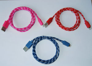 Mix Color Braided for Leahter for  iPhone Cable pictures & photos