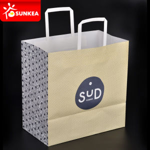 Custom Made Heavy White Kraft Paper Bag in Colour pictures & photos