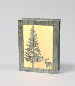 Battery Operated Wooden Frosted Merry Christmas Tree Window Box Light pictures & photos