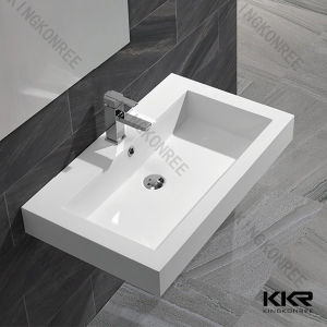Solid Surface Composite Stone Wall Hung Basin pictures & photos