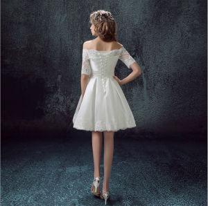 2017 Bateau Satin Lace MID-Calf Wedding Dress with Paillettes (Dream-100068) pictures & photos