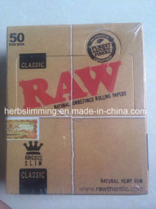 Raw Slim Natural Unrefined Cigarette Smoking Rolling Paper 50 Booklets 110mm King Size pictures & photos