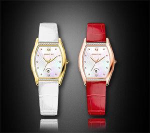 Cheap Square Diamond Leather Strap Quartz Ladies Wrist Watch pictures & photos